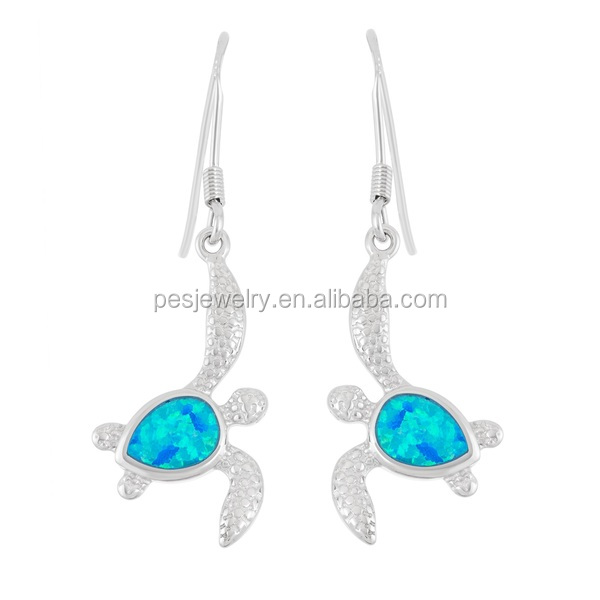 PES Fashion Jewelry! Fish Hook Japan Synthesis Fire Blue Opal Turtle Dangling Earrings (PES9-1376)