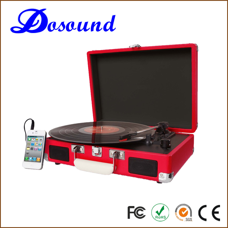 Hot sale LP Portable vinyl MP3 Suitcase Turntable recorder Player