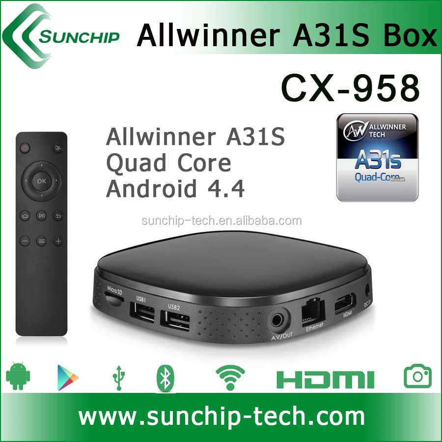 Allwinner A31S quad core 1G/8G android 4.4 , support 4K video Sunchip tv box