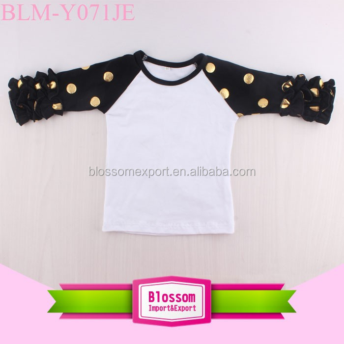 Blank Wholesale Anchor Print Icing Ruffle Raglan Tops Shirts 4th of July Icing Raglan Ruffle Tee Shirts