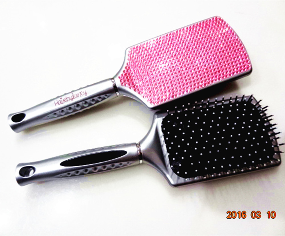 bling hair comb, diamond COMPACT STYLER Black Pink