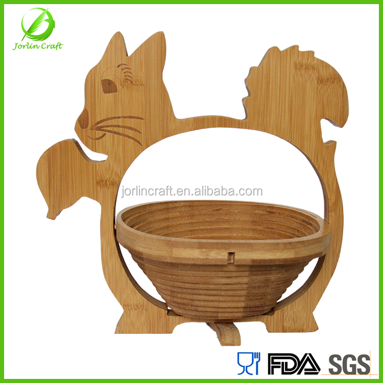 squirrel shape food grade bamboo fruit basket