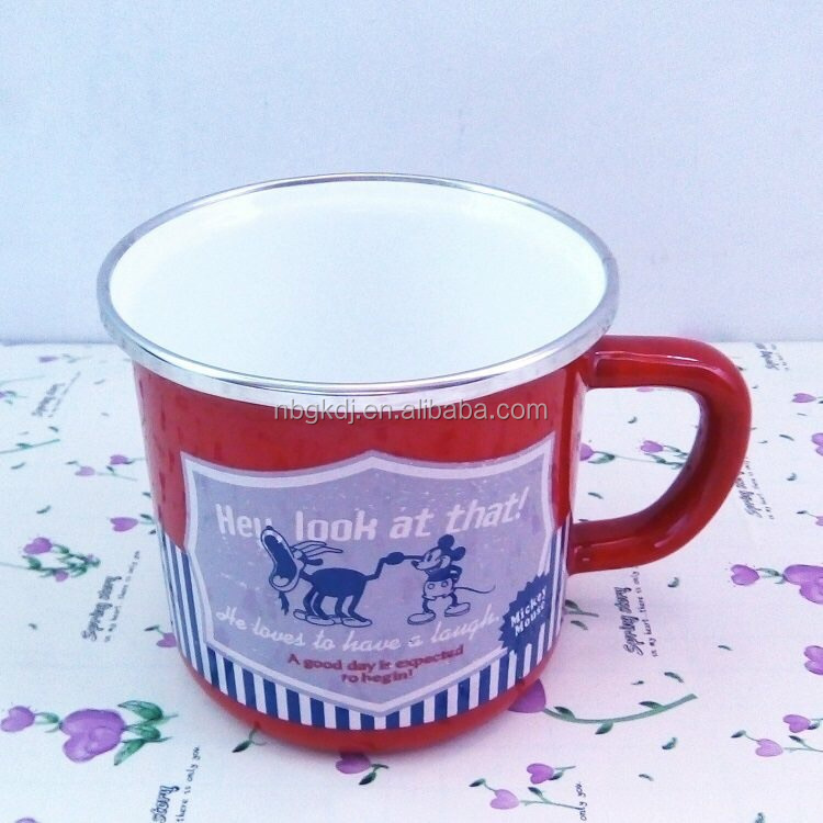 printed red enamel mugs and cups & enamel cup wholesale