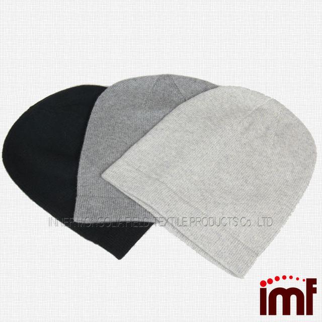 Fashion Men's Plain Wool Cashmere Mixture Knit Handmade Man Beanie Hat