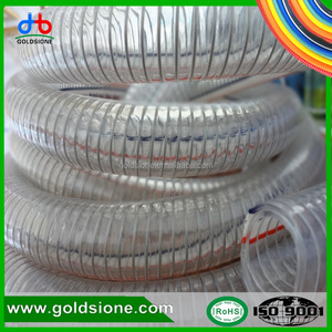 Spiral zinc-plated steel wire transparent pipe of 38mm