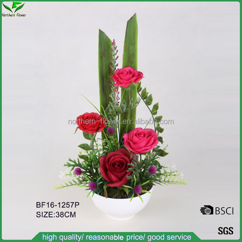 wedding decoration flowers,silk red roses for table centerpiece