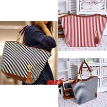 Womens Canvas plaid Handbags Girls Tote Satchel Beach Shoulder shopping Bags
