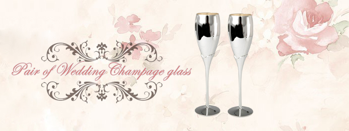 2015 Silver Plated Luxury Unique Champagne Flutes Wholesale, Customized Logo Available Champagne Flutes by Laser Printing