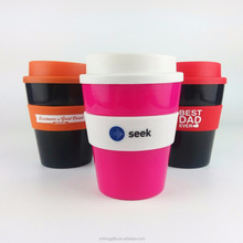 plastic reusable coffee cup with silicone lid