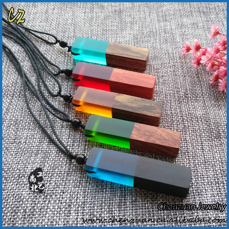 Bulk sale Handmade Crafts Resin wood pendant jewelry necklace