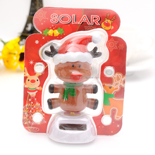 solar power swing ornament fashion toy baby dolls solar powered dancing deer, car decorative gift sun doll factory wholesale