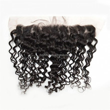 Natural black deep wave indian virgin hair lace closure with bleached knots 4x4 silk base lace frontal closure