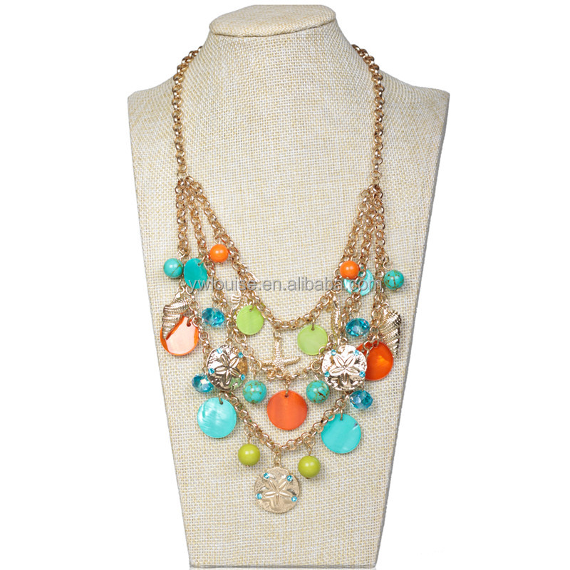 Boho Design Jewelry Conch Starfish Sea Horse Rhinestone Floral Alloy Pendant Coin Shell Crystal Bead Chain Beach Bib Necklace