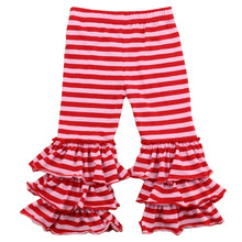 bulk wholesale kids red stripe pants tiered cotton girls colorful casual pants
