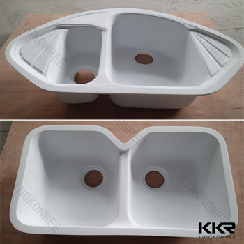 Kkr acrylic solid surface double drain board kitchen sinks for Solid surface kitchen sink