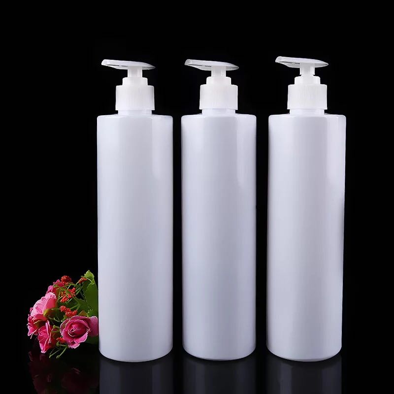 China supplier 500ml white plastic bottle cheap pet shampoo bottle with pump made in china