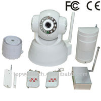 2014 Newest Wireless wifi Alarm System wi-fi with led controller wi-fi pan tilt IR ip camera