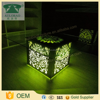 Tempered glass used led modern dinning table