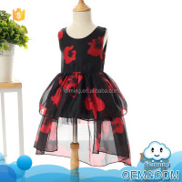 Wholesale children frocks designs black lace flower girl net erogenous cutting fancy latest children dress designs