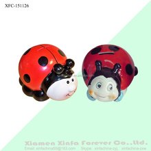 unique unpainted bisquewares ceramic ladybug coin bank