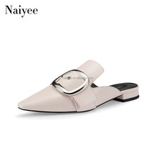 2018 Hot summer custom slides latest safety ladies buckle women mules flat heel women slippers
