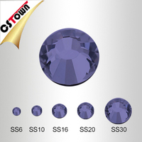 High Quality Tanzanite Color Bling Hot fix Flatback Loose Stones for T shirt