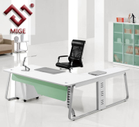 Cream Matt L Shape Modern Inexpensive Office Furniture