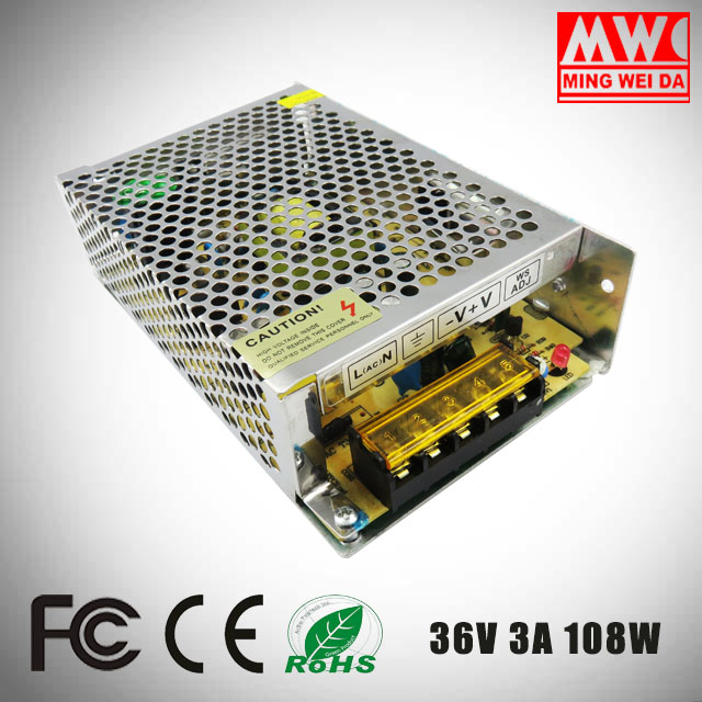 2017 most popular 36V 3A 108W S-108-36 SMPS power supply From China factory