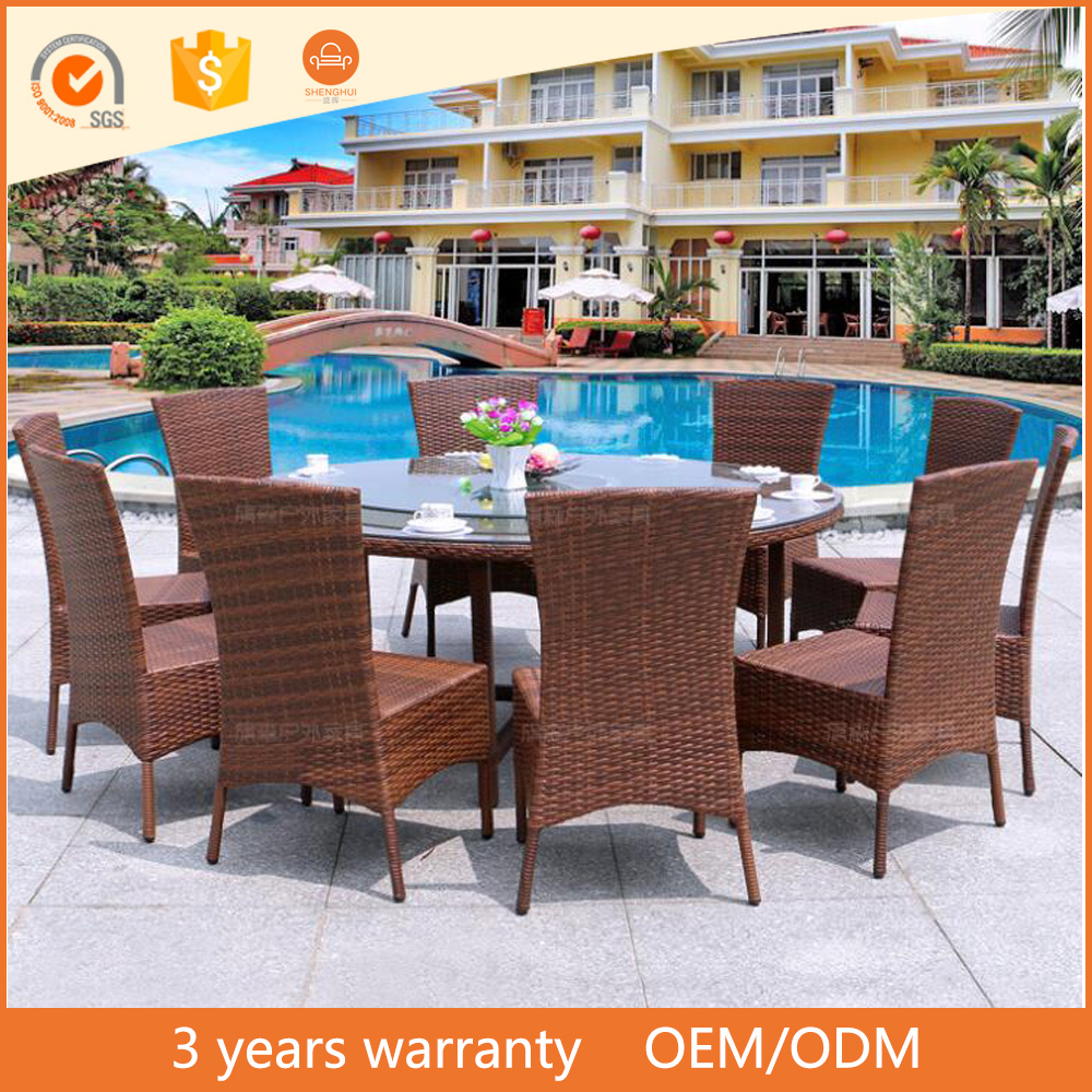 Cheap 10 Seater Family Gathering Outdoor Rattan Round Dining Room Furniture Set