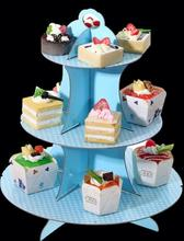 Custom printing 4 tier cardboard clear cupcake and candy tower stand, mini cake stand