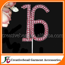 Sweet 16 Birthday Number Cake Topper Large Rhinestone Crystals Cake Decorations For 16th Birthday