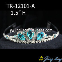 Small blue rhinestone wedding bridal tiara