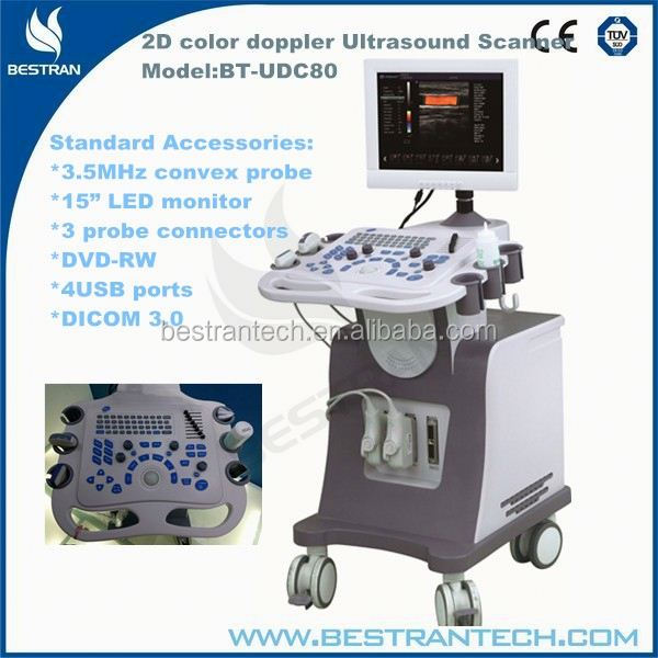 BT-UDC80 15''LED 2D 3.5MHz convex probe,3 probe connectors,DVD-RW buy used ultrasound equipment price