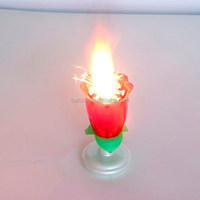 Romantic rose fireworks birthday candle