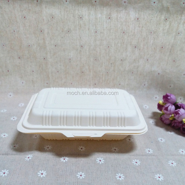 Fast Food Packaging Box Cornstarch Hinged Clamshell Biodegradable Food Container