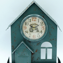 New style turquoise craft clocks of iron house model for outdoor decoration