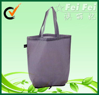 Business small lattice printing polyester Folding handbags