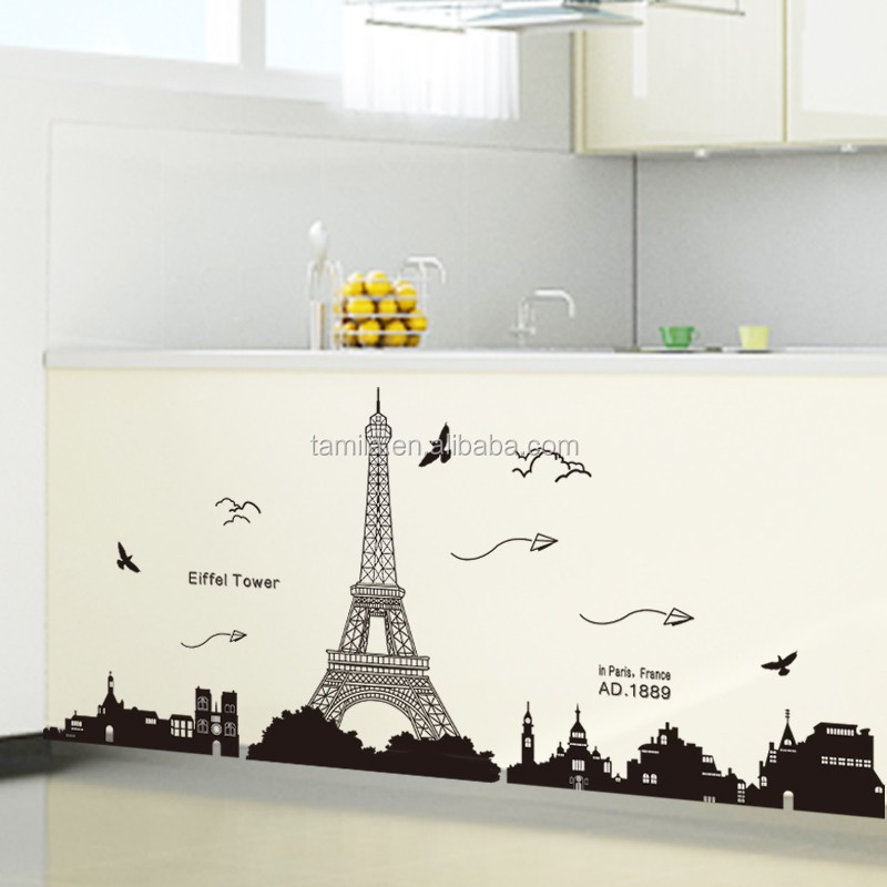 Hot sale Non-toxic wholesale fashion eco-friendly and removable eiffel tower wall sticker