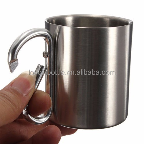 220ml Stainless Steel Coffee Mug Camping Outdoor Portable Cup Carabiner Hook thermal coffee cup with lid ,vacuum travel mug