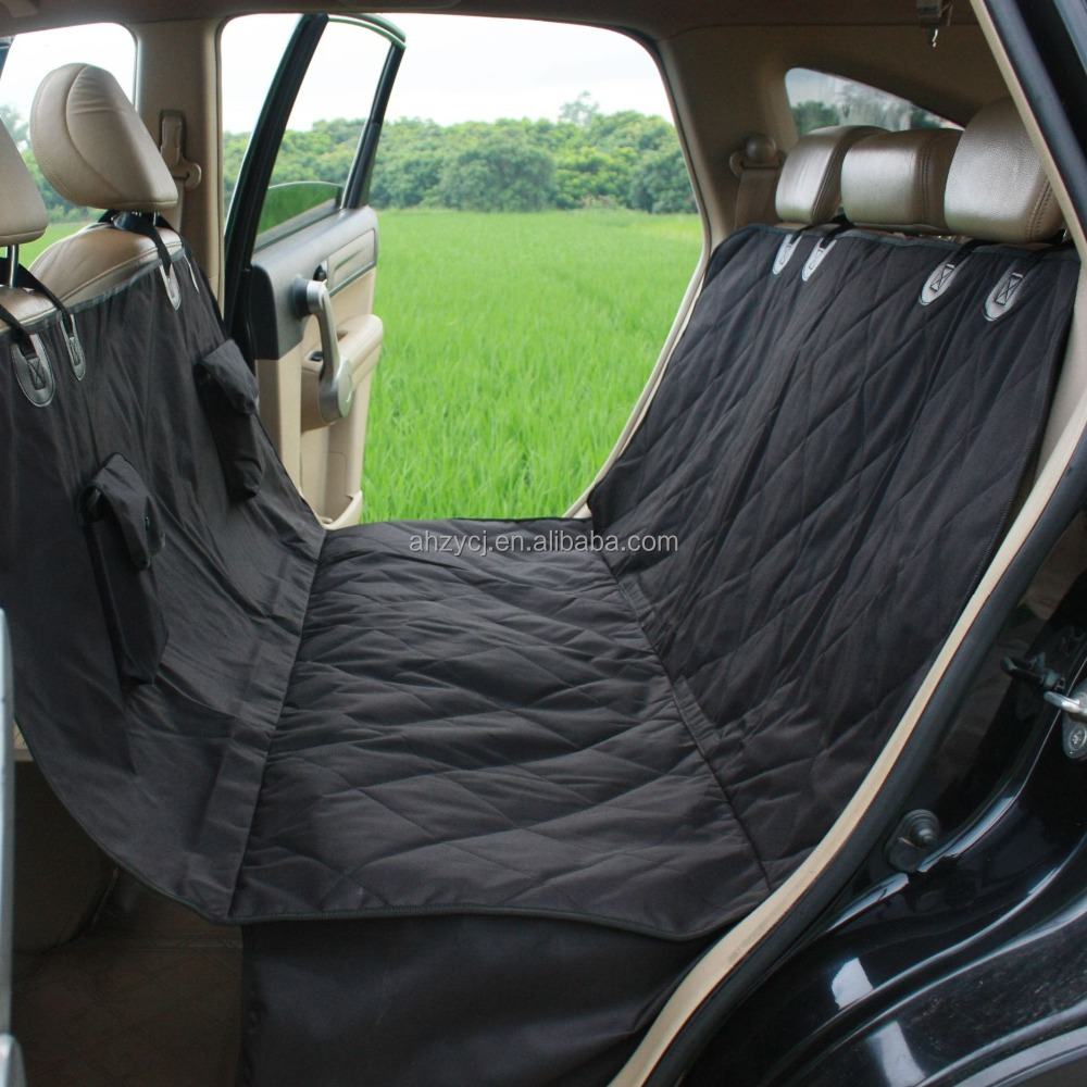 Waterproof Heavy Polyester Oxford Big Black Dog Car Bench Seat Cover for Pets Travel All Coverage SUV Rear Seat Cover