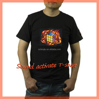 Factory price electroluminescent sound sensor el/led t-shirt for kids/ladies/men online shopping