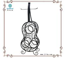 Guitar design black home bar decoration wrought iron wine rack