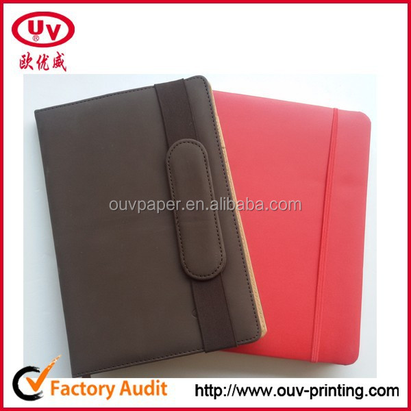 soft cover leather cover pu notebook with elastic strap