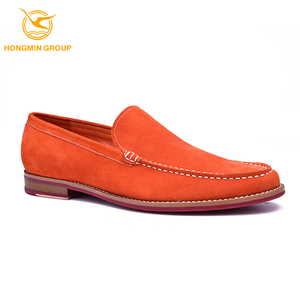 Custom branded wholesale italian style soft business cow suede velvet fashion leather loafers casual dress shoes for men