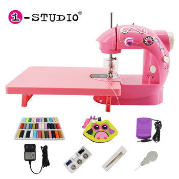 In Stock 202 Usa Eu Power Adapter Easy Handheld Mini Small Button Girl Sewing Machines with Sewing Table Light for cloths