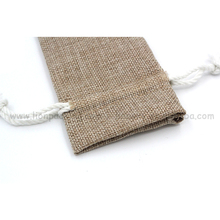 Wholesale reusable simple burlap autumn flax drawstring gift bags