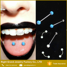 2017 Opal Double Ball Straight Barbell Piercing Free Sample Tongue Rings
