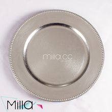 Silver plastic charger plate