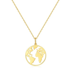 Minimalist globe travel jewelry 925 Sterling silver earth world map necklace