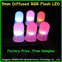 High Quality 5mm rgb color changing light emitting diode diffused lens ( CE & RoHS Compliant )